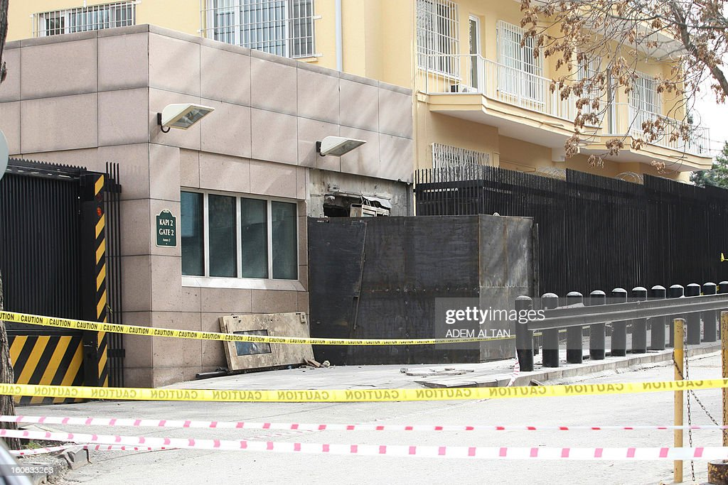 A photo taken on February 4, 2013 shows the side entrance of the US Embassy in Ankara covered with metal sheeting after a suicide bomber blew himself up on February 1 outside the facility. A radical Turkish Marxist group, the Revolutionary People's Liberation Front (DHKP-C), claimed responsibility for the bomb attack at the embassy, where a Turkish security guard was killed.