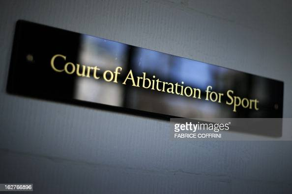 A photo taken on February 6 2012 shows a sign of the Court of Arbitration for Sport in Lausanne The CAS suspended threetime Tour de France winner...
