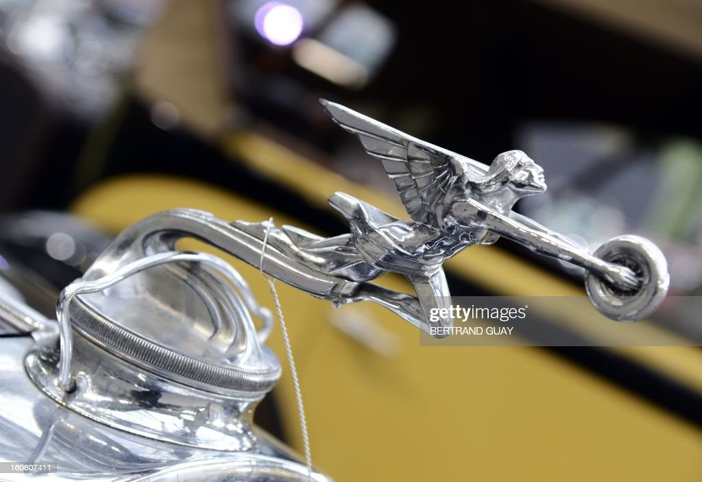Photo taken on February 6, 2013 shows the 1931 Packard Standard Eight 833 Limousine hood ornament 'The Goddess of Speed' displayed at the Grand Palais in Paris on the eve of an auction of luxury vintage cars. 125 vintage motor cars, 100 collection motorbikes and a 1920's Gipsy Moth plane by De Havilland, will be auctionned at Bonhams on February 7.