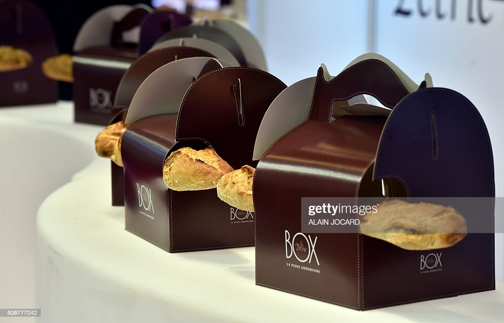 A photo taken on February 6, 2016 shows bread on the 'La petrie' stand during the 'Europain' fair, on February 6, 2016, in Villepinte near Paris. / AFP / ALAIN JOCARD