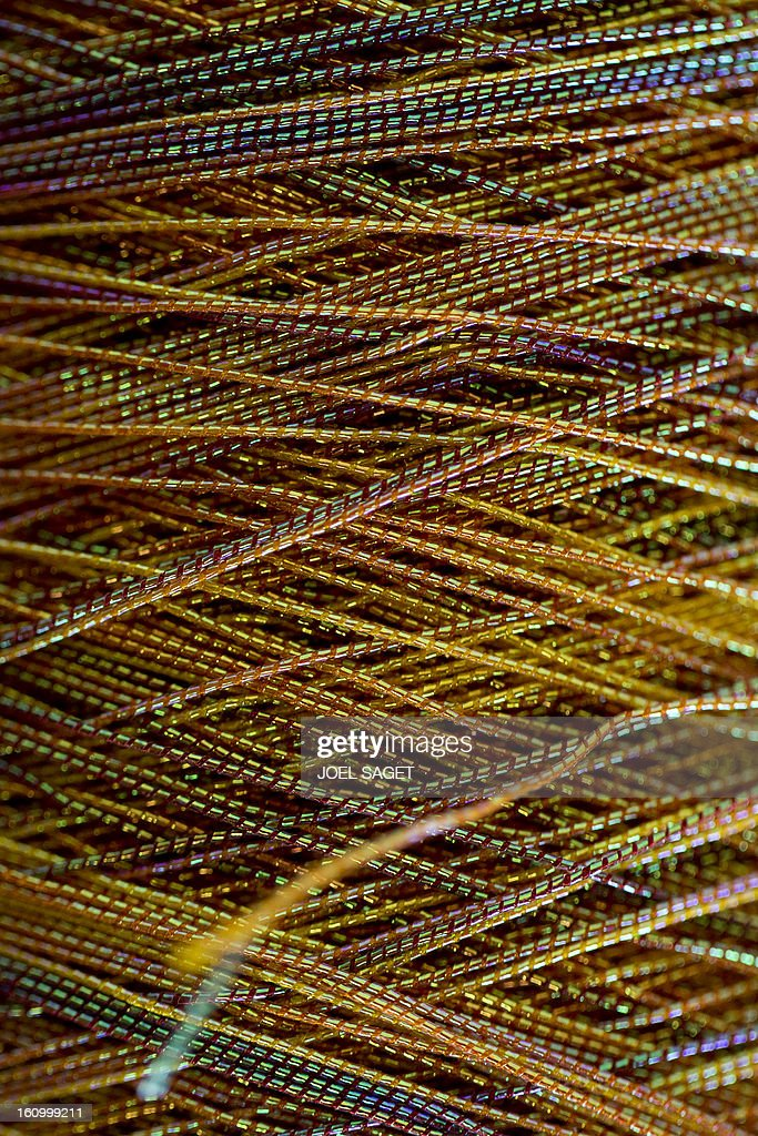 A photo taken on February 8, 2013 shows synthetic fibers on display at the exhibition 'Futurotextiles 3' scheduled until July 14 at the Cite des Sciences et de l'Iindustrie in Paris.