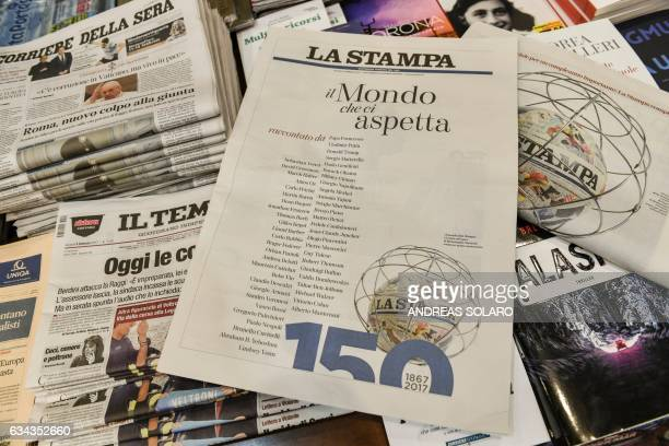 A photo taken on February 9 2017 shows a copy of the 150th anniversary edition of Italian newspaper La Stampa at a newsstand in central Rome Several...