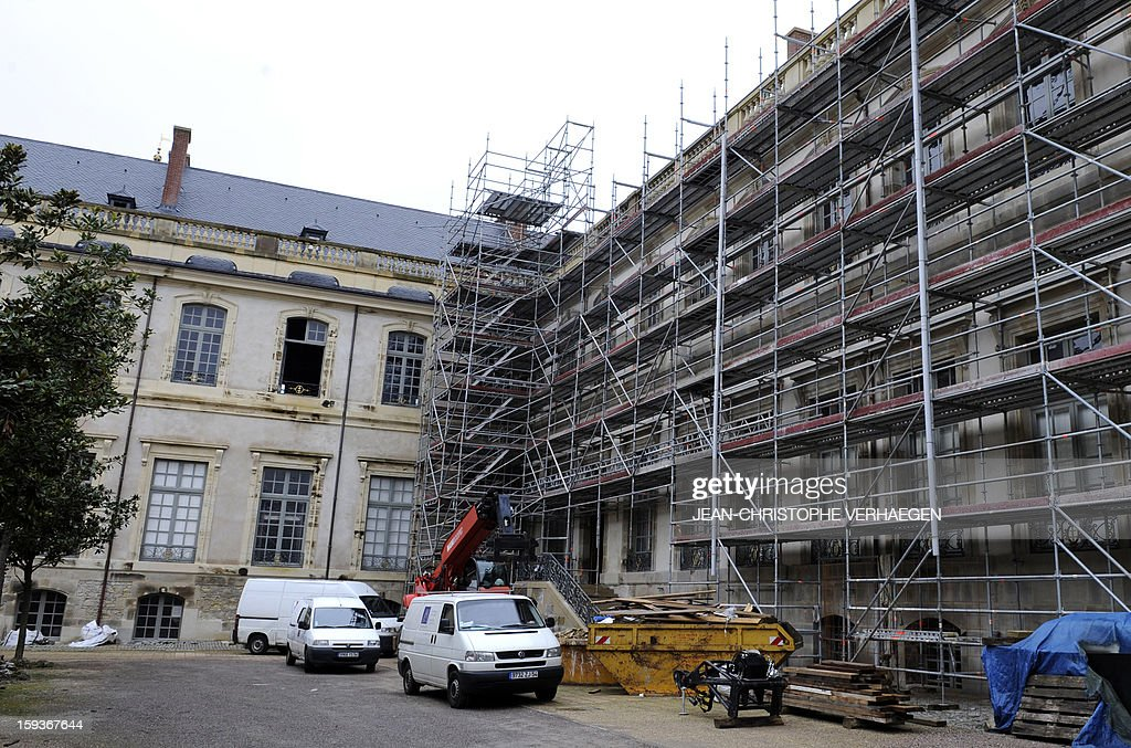 Photo taken on January 10, 2013 shows scaffolding on one of the walls of the Castle of Luneville, built between 1703 and 1720. A major fire broke out in the castle in January 2003 which destroyed the castle's museum, chapel and reception. AFP PHOTO / JEAN-CHRISTOPHE VERHAEGEN