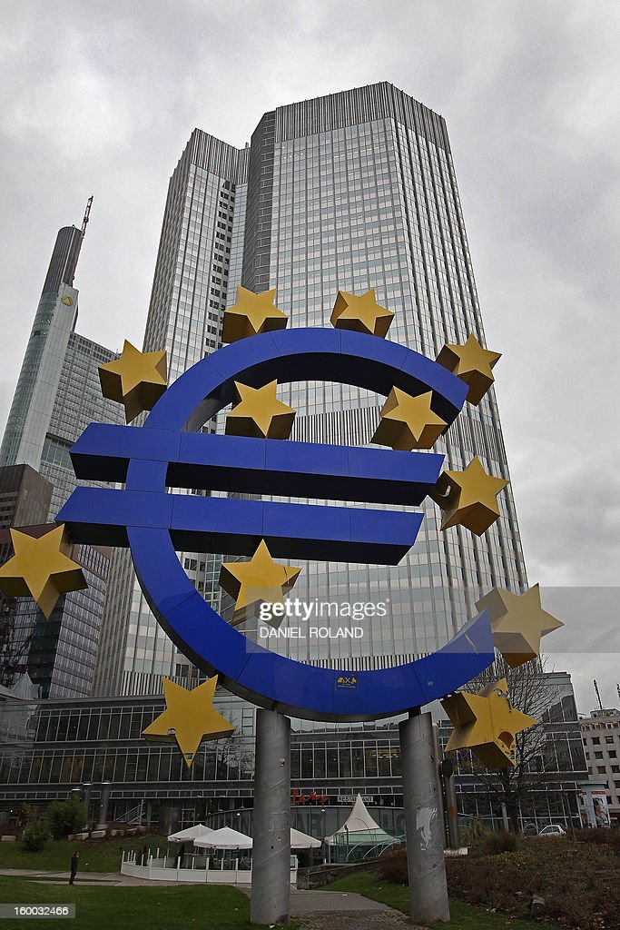 - Photo taken on January 10, 2013 shows the euro logo in front of the European Central Bank ECB prior to the meeting of the Governing Council in Frankfurt/Main, western Germany. The European Central Bank said on January 25, 2013 that 278 eurozone banks will repay early 137.16 billion euros ($184.5 billion) of ultra-cheap three-year loans made available to them a year ago in emergency liquidity measures.