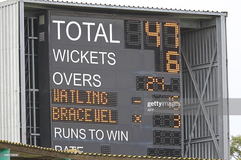 photo taken on January 12, 2013 shows the scoreboard on the second day of the second and final Test between South Africa and New Zealand at St George's Park in Port Elizabeth. AFP PHOTO / Anesh Debiky