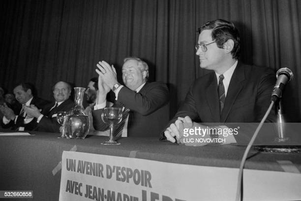 Photo taken on January 14 1984 in Lyon shows French far right leader JeanMarie Le Pen and Dean of University Lyon III Bruno Gollnisch during the far...