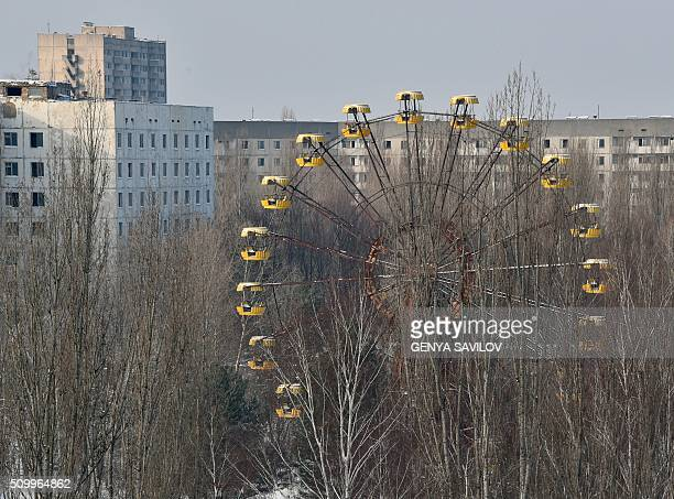 A photo taken on January 22 2016 shows a ferris wheel between abandoned buildings in the ghost city Pripyat near to Chernobyl Power Plant On April 26...