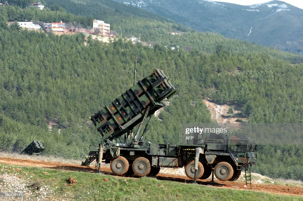 A photo taken on January 31, 2013 shows a Patriot missile system at a Turkish military base in Kahramanmaras, in southeastern Turkey, some 100 kms (60 miles) from the Syrian border. A second pair of Patriot missile batteries, sent by NATO countries to defend Turkey against possible attack from Syria are now operational, a German security official said on January 29. The United States, Germany and the Netherlands each committed to sending two batteries and up to 400 soldiers to operate them after Ankara asked for help to bolster its air defenses against possible missile attack from Syria. The two German batteries, which have been deployed around Kahramanmaras, were in position and ready to use, the German security official said.
