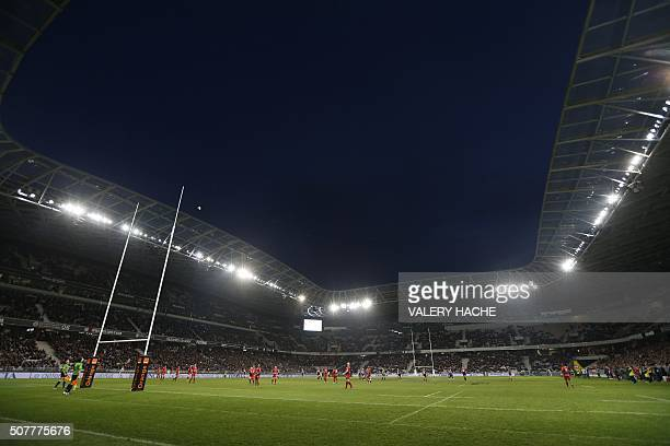 A photo taken on January 31 2016 shows a general view of Allianz Riviera stadium in Nice southeastern France during the French Top 14 rugby union...