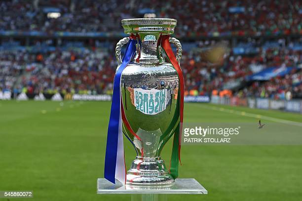 TOPSHOT A photo taken on July 10 2016 shows the Euro 2016 trophy ahead of the final football match between Portugal and France at the Stade de France...