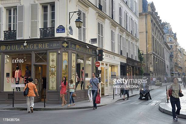 A photo taken on July 12 2013 shows the Rue des Francs Bourgeois at the angle with Rue de Sevigne in the Marais district in Paris AFP PHOTO / MIGUEL...