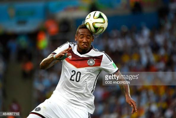 A photo taken on July 13 2014 shows Germany's defender Jerome Boateng playing the ball during the 2014 FIFA World Cup final football match between...