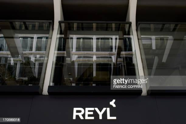 A photo taken on June 15 2013 shows a sign of the bank Reyl in the financial district of Geneva French justice has opened on May 31 2013 an...