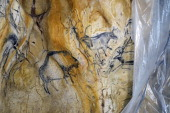 Photo taken on June 16 2014 shows a detail of a replica of 'La Caverne du Pontd'Arc' or Chauvet cave under construction in Vallon Pontd'Arc southern...