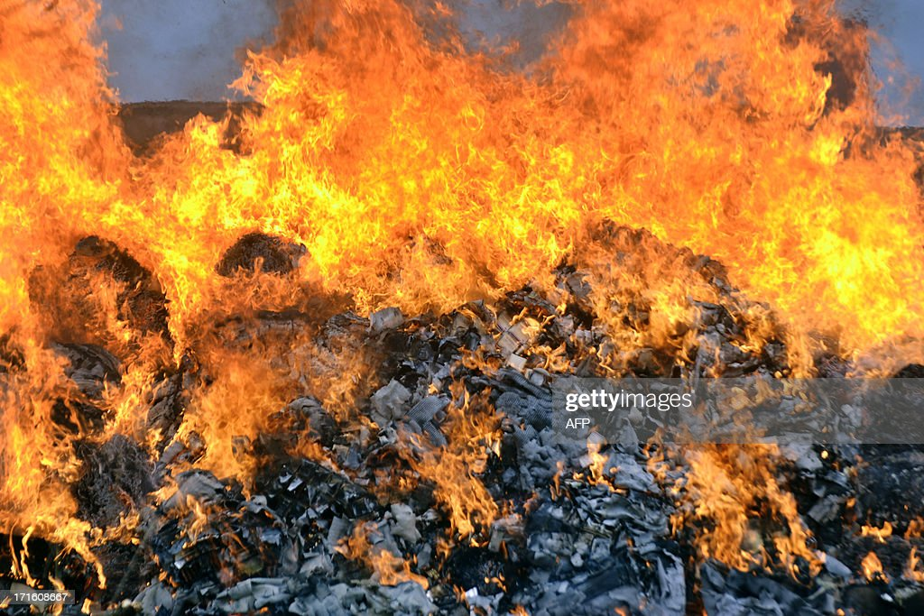 A photo taken on June 26, 2013 shows 4 tons of marijuana and various other drugs being burnt in Conakry during celebrations marking the International Day Against Drug Abuse and Illicit Trafficking.