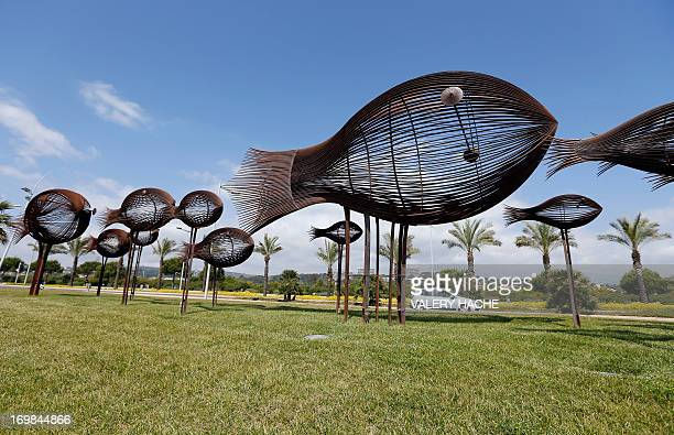 A photo taken on June 3 2013 shows the 'Le Banc de Poissons' sculpture by French artist Sylvain Subervie in the southeastern French resort of...