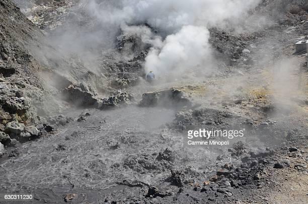 TOPSHOT A photo taken on June 6 2013 shows Pisciarelli fumaroles and mud pools from the Campi Flegrei caldera a super volcano near Naples A...