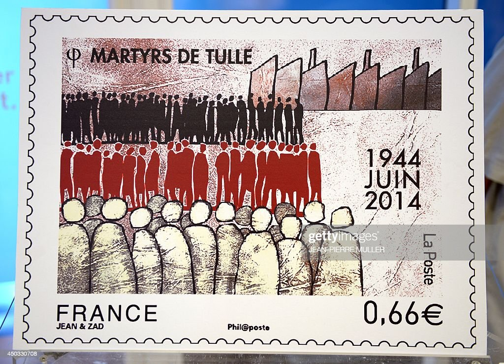 A photo taken on June 9, 2014 in Tulle, southwestern France, shows a stamp edited in tribute to the memory of Nazi victims in Tulle. On June 9, 1944, 99 hostages were hanged from lampposts and balconies by the SS Division Das Reich in Tulle.