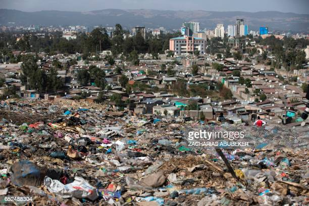 A photo taken on March 12 2017 shows a view of Addis Ababa from the main landfill on the outskirts of the city after a landslide at the dump left at...