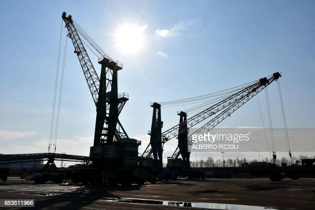 A photo taken on March 15 2017 shows the commercial dock of French sugar cooperative Cristal Union at the SFIR Raffineria di Brindisi sugar refinery...