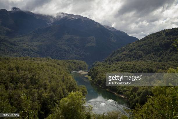 Photo taken on March 19 2010 showing the Arrayanes river that links Futalaufquen and Verde lakes at Los Alerces national park in the Patagonian...