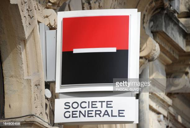 A photo taken on March 27 2013 shows the logo of the French bank Societe Generale at a branch in the center of the southern French city of...