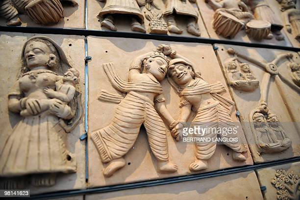 Photo taken on March 30 2010 at the Quai Branly museum in Paris shows sculptures 'Mohanlal' presented during the exhibition 'Others Masters Of India'...