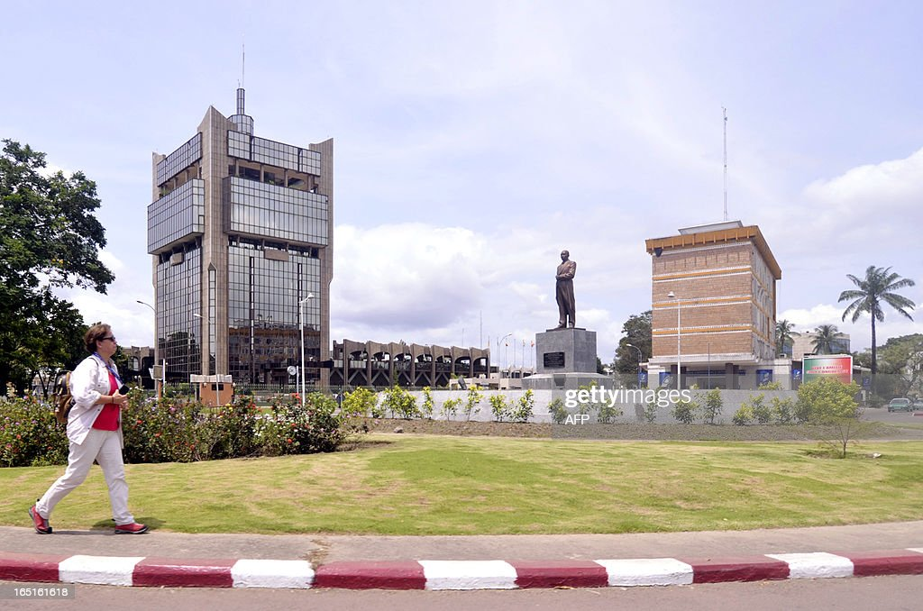 A photo taken on March 30 2013 shows a statue of former Comgo Prime Minister Jacques Joachim Yhombi Opango in Brazzaville AFP PHOTO / JUNIOR D KANNAH