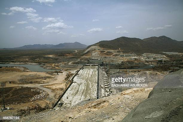 A photo taken on March 31 2015 shows the Grand Renaissance Dam under construction near the SudaneseEthiopia border Ethiopia began diverting the Blue...