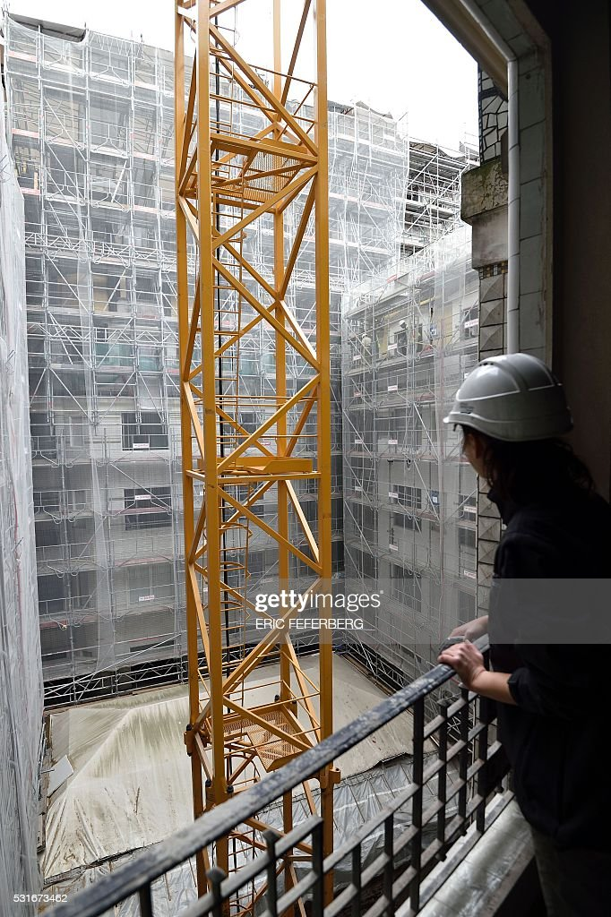 A photo taken on may 12 2016 in paris shows renovation work of the pictur - Renovation hotel lutetia ...