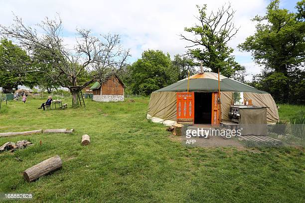 Photo taken on May 14 2013 shows a yurt in BussiereBoffy central France On the eve of a new trial Alex and Sara who have lived in their yurt for...