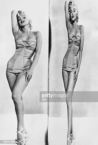 A photo taken on May 22 1953 shows American actress Marilyn Monroe seen through a lens of normal shooting and through a cinemascopE lens an...