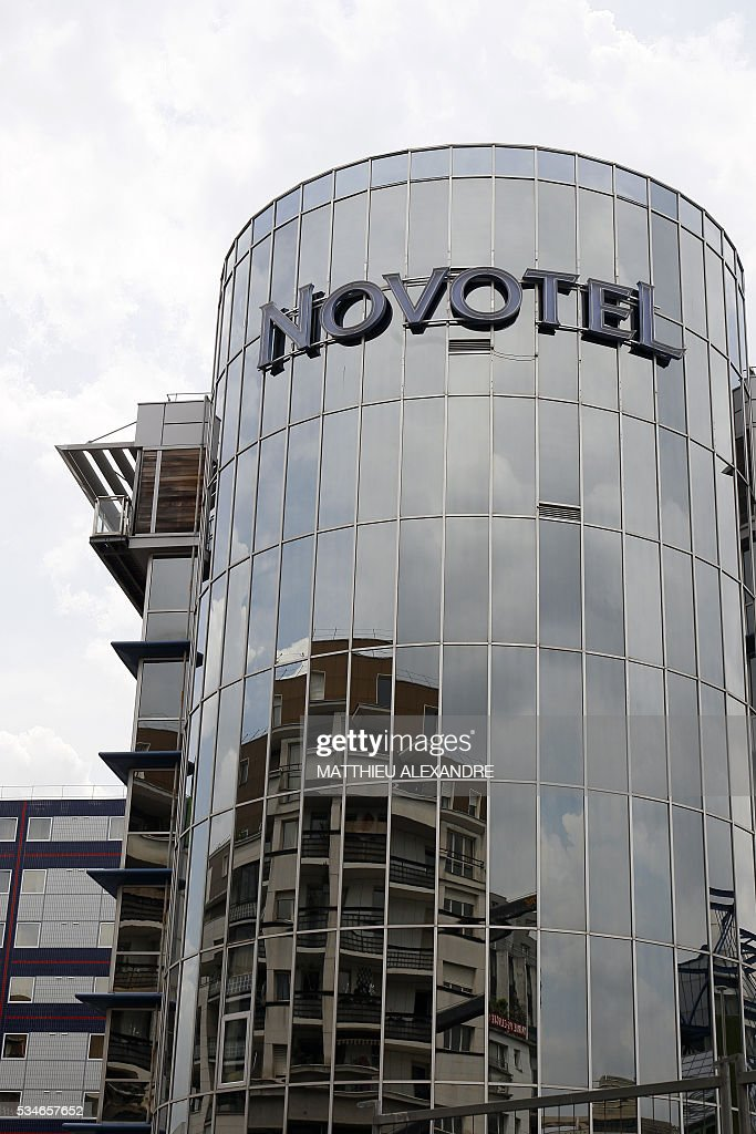 A photo taken on May 27, 2016 shows an exterior view of the Hotel Novotel Paris Bercy (AccorHotels group) in Paris. / AFP / MATTHIEU