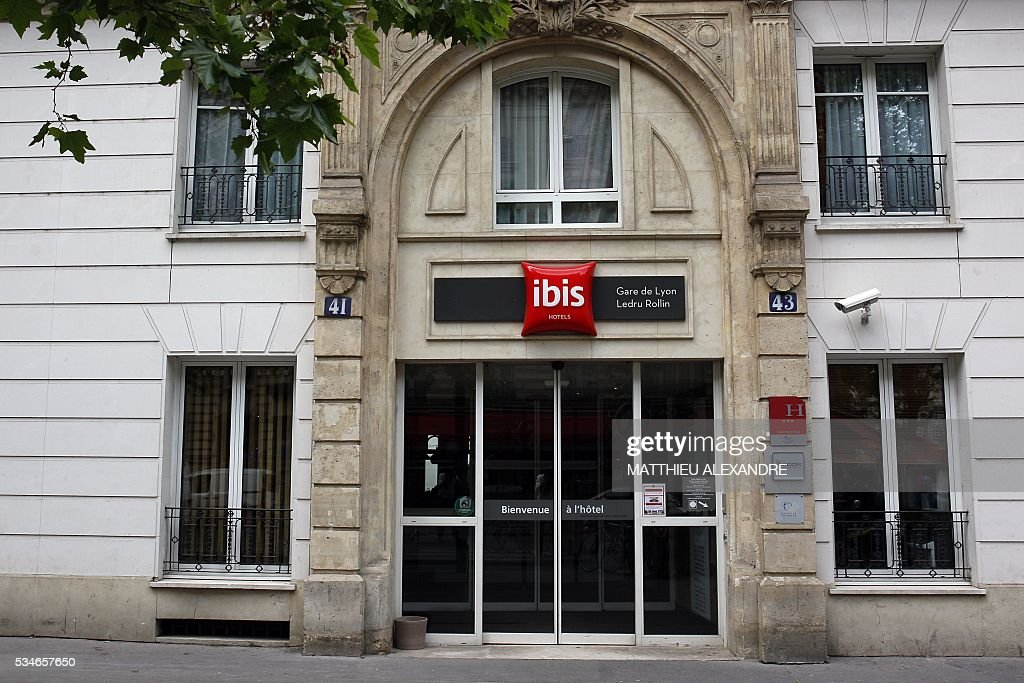 A photo taken on May 27, 2016 shows an exterior view of the Ibis Paris Gare de Lyon Ledru-Rollin (AccorHotels group) in Paris. / AFP / MATTHIEU