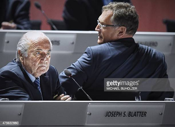 A photo taken on May 29 2015 shows FIFA President Sepp Blatter and FIFA secretary general Jerome Valcke attending the 65th FIFA Congress in Zurich...
