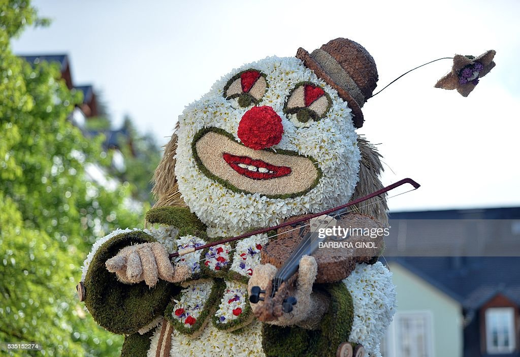 A photo taken on May 29, 2016 shows a clown figure made of Daffodil in a parade during the 57th Daffodil Festival in Bad Aussee. / AFP / APA / BARBARA GINDL / Austria OUT