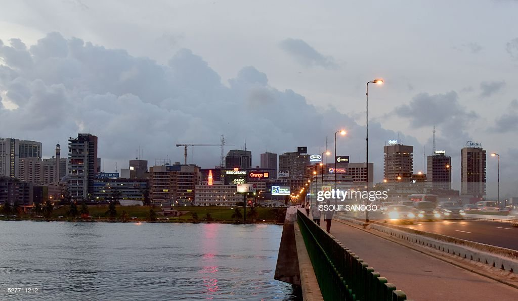 A photo taken on May 3, 2016 shows a view of the Plateau business district of Abidjan. / AFP / ISSOUF