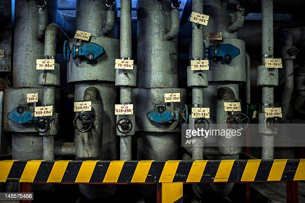 Photo taken on May 31 2012 shows pipings at the Eurodif SA/George Besse 1 uranium enrichment plant in SaintPaulTroisChateaux southeastern France The...