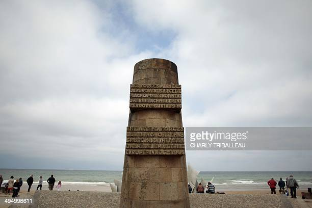 A photo taken on May 31 2014 shows the Signal monument in Omaha Beach in SaintLaurentsurMer northwestern France 19 heads of state and government will...