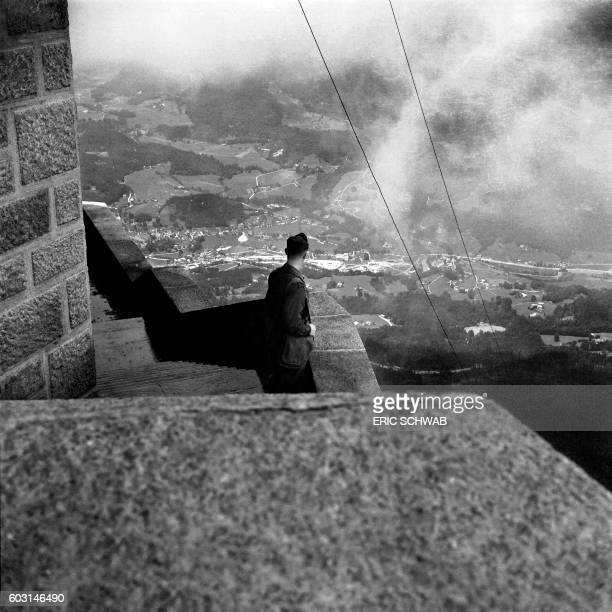 Photo taken on May 4 1945 shows a US soldier at the Berghof Adolf Hitler's home in the Obersalzberg of the Bavarian Alps near Berchtesgaden Bavaria...