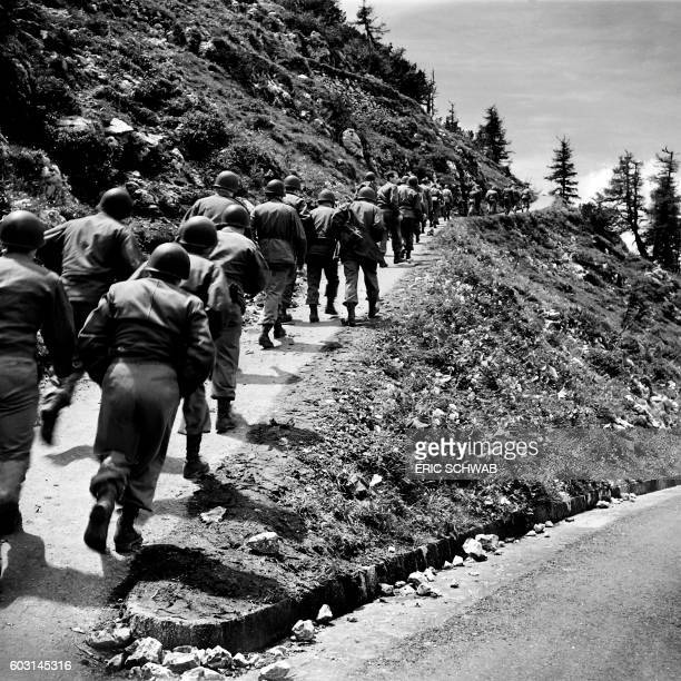 Photo taken on May 4 1945 shows the US 3rd Infantry Division arriving at the Berghof Adolf Hitler's home near Berchtesgaden along with the French 2nd...