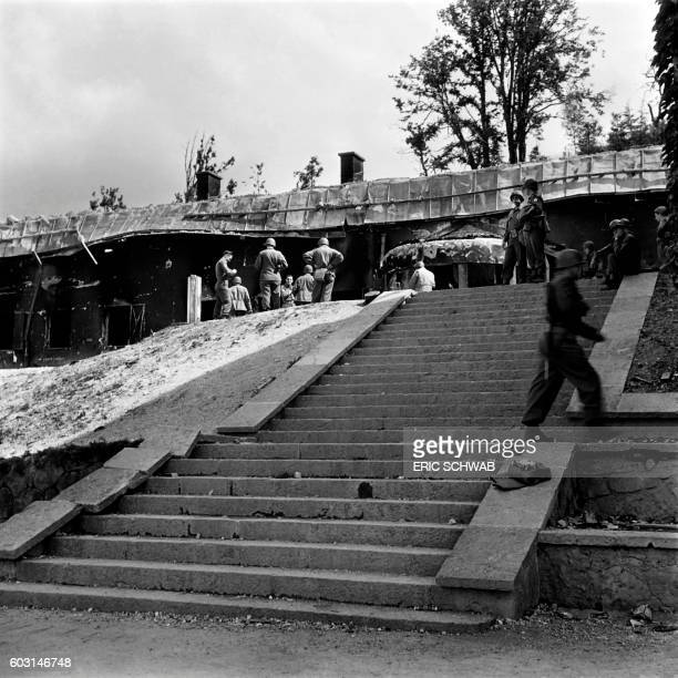Photo taken on May 4 1945 shows US soldiers in front of the Berghof Adolf Hitler's home in the Obersalzberg of the Bavarian Alps near Berchtesgaden...