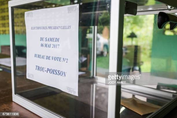 A photo taken on May 6 2017 shows a ballot box at a polling station in Trou Poissons French Guiana during the second round of the French presidential...