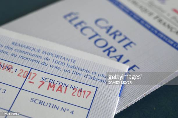 A photo taken on May 7 2017 in Rennes western France shows the date of the second round of the French presidential election stamped on a electoral...