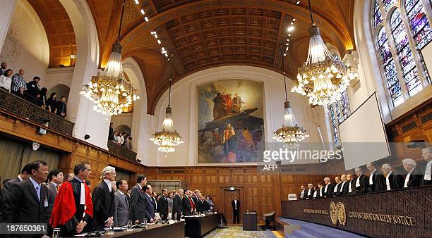 A photo taken on November 11 2013 during the trial between Cambodia and Thailand about the Temple of Preah Vihear in the hall of the Peace Palace at...