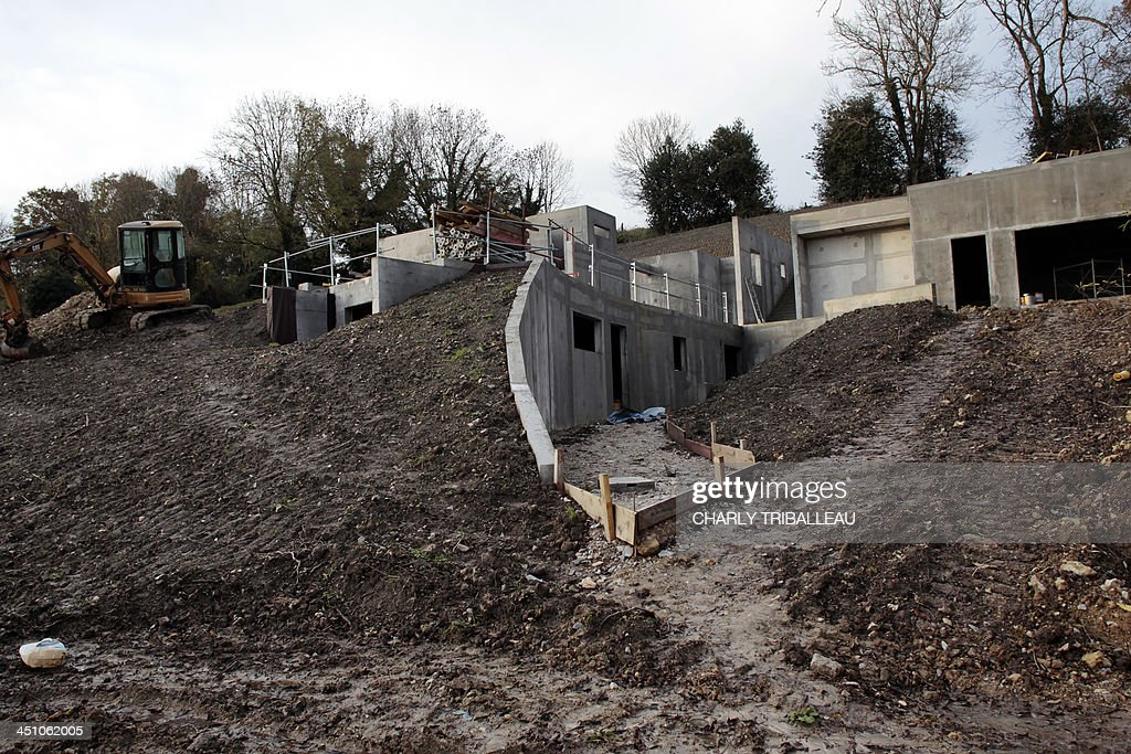 A photo taken on November 21, 2013 shows French actor Gerard Depardieu's 250 sq meters house under construction in Trouville-sur-Mer, northwestern France. A cancellation request of the license to build this house has been denied on November 21 by the Administrative Court of Caen.