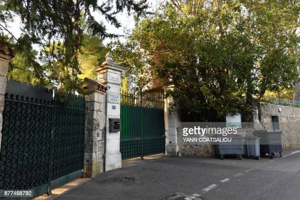 A photo taken on November 22 2017 shows the entrance to the Villa Hier in the cap d'Antibes allegedly purchased by Russian oligarch Suleiman Kerimov...