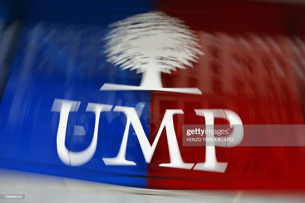 A photo taken on November 26, 2012 in Paris shows the logo of the UMP party. France's main right-wing opposition party was close to collapse today after talks failed to resolve a bitter leadership dispute and an ex-prime minister vowed to take the battle to the courts. The contested leadership vote has thrown into turmoil ex-president Nicolas Sarkozy's UMP -- still reeling from its loss of the presidency and parliament this year -- and raised the spectre of an unprecedented split on the right. Called in to mediate the damaging dispute, party heavyweight Alain Juppe threw in the towel after only 45 minutes of talks between ex-prime minister Francois Fillon and party secretary general Jean-Francois Cope. AFP PHOTO / KENZO TRIBOUILLARD
