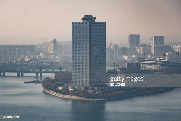 A photo taken on November 27 2016 shows the Yanggakdo International Hotel in Pyongyang where US student Otto Warmbier was alleged to have removed a...