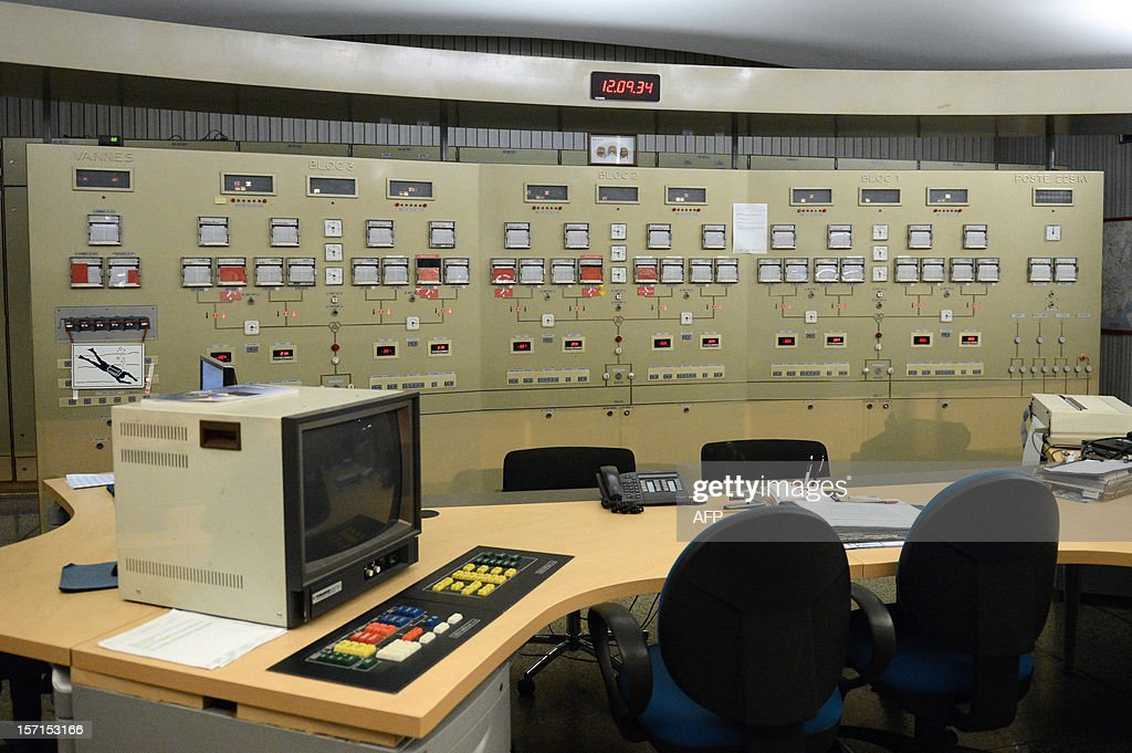 A photo taken on November 28, 2012 shows the control room of the La Rance tidal-turbine power plant in La Richardais, western France.